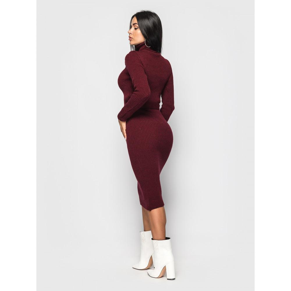 Бордовое платье-гольф Jasmine с поясом фото 2