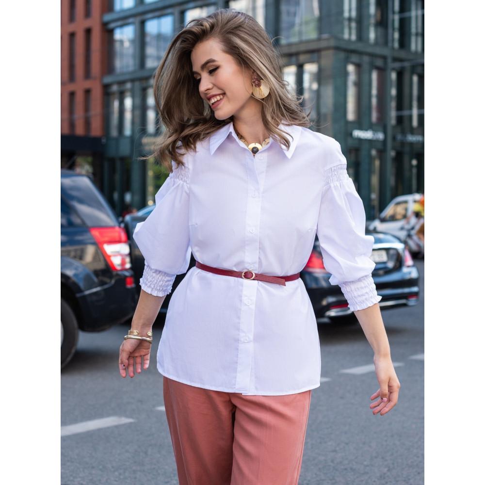 Белая блузка их хлопковой ткани с рукавом 3/4 фото 1