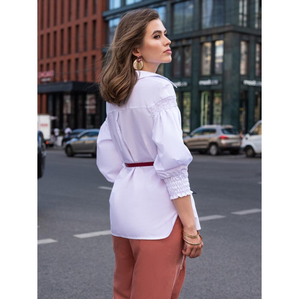 Белая блузка их хлопковой ткани с рукавом 3/4 фото 3