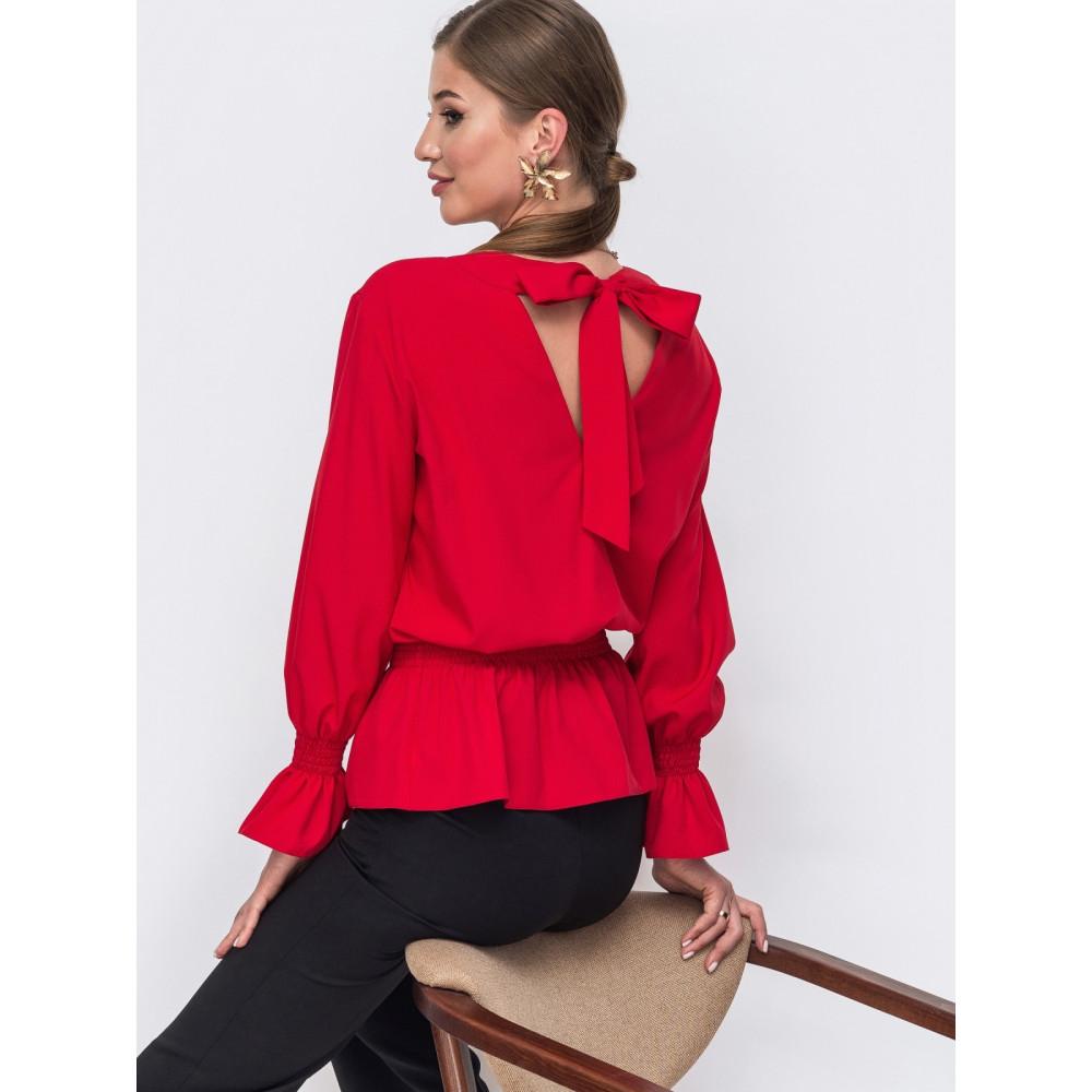 Красная однотонная блузка с баской Дилеа фото 1