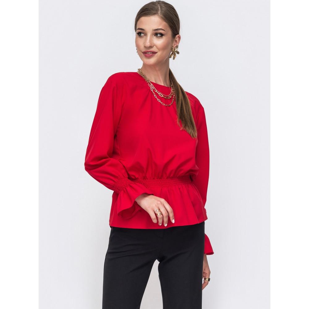 Красная однотонная блузка с баской Дилеа фото 2