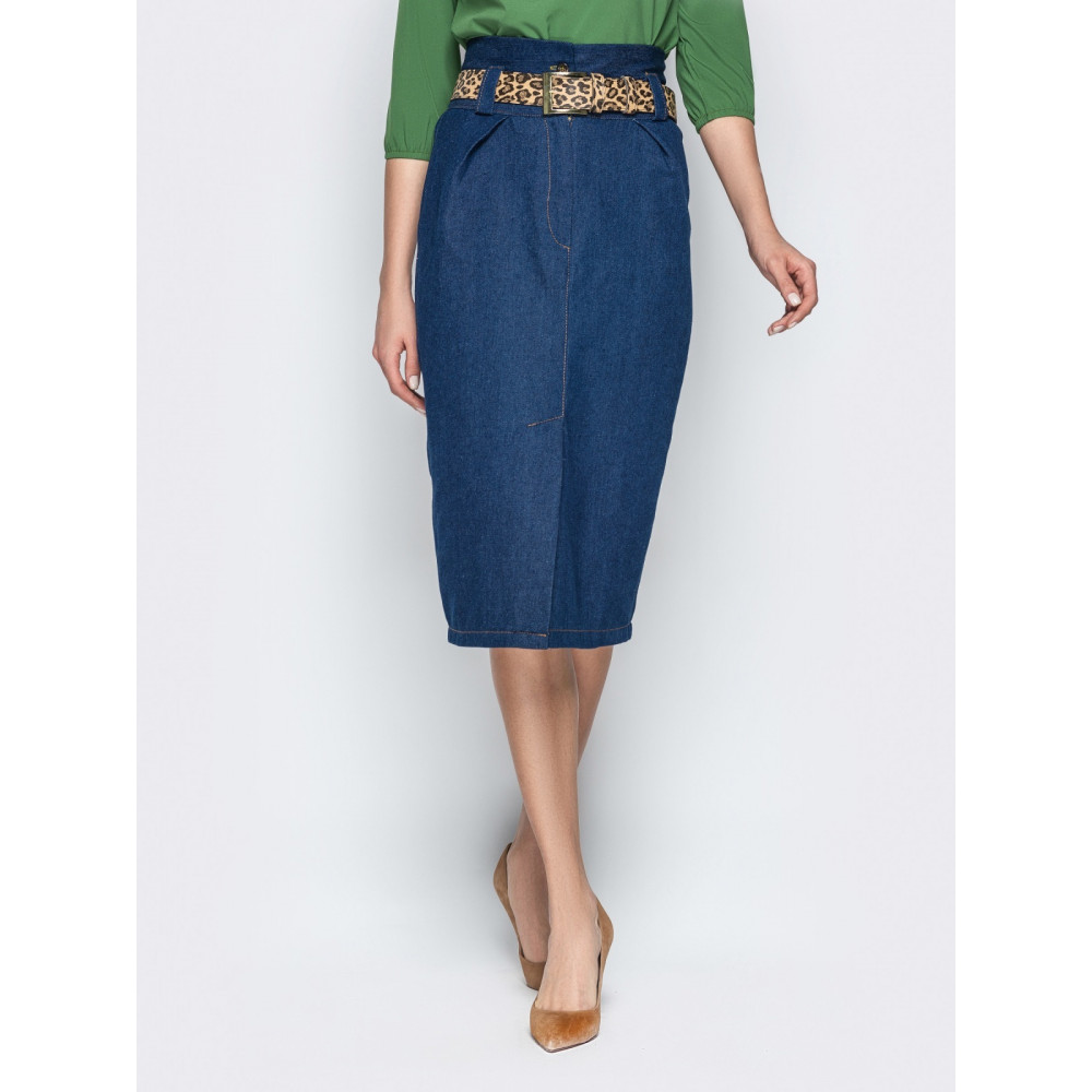 Джинсовая юбка-карандаш с завышенной талией фото 1