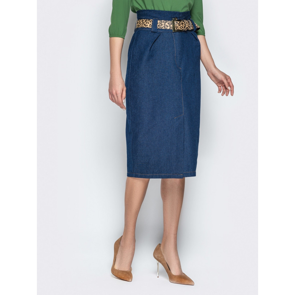 Джинсовая юбка-карандаш с завышенной талией фото 2