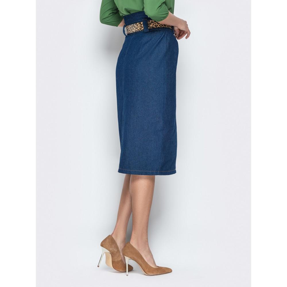 Джинсовая юбка-карандаш с завышенной талией фото 3