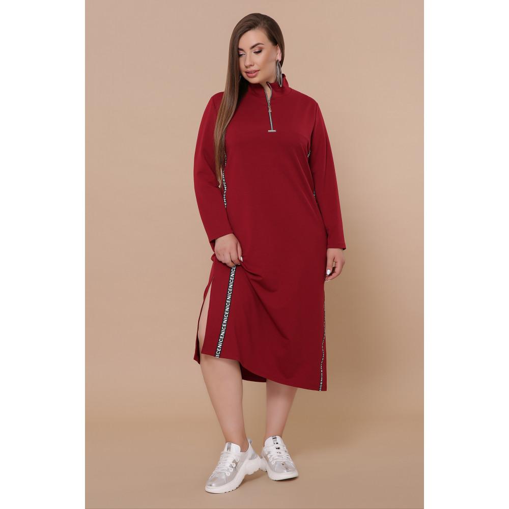 Бордовое платье в спортивном стиле Джилл фото 2