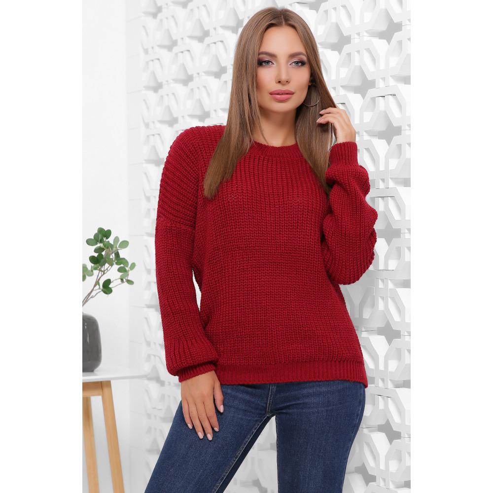 Вязаный бордовый свитер Пэрис фото 1