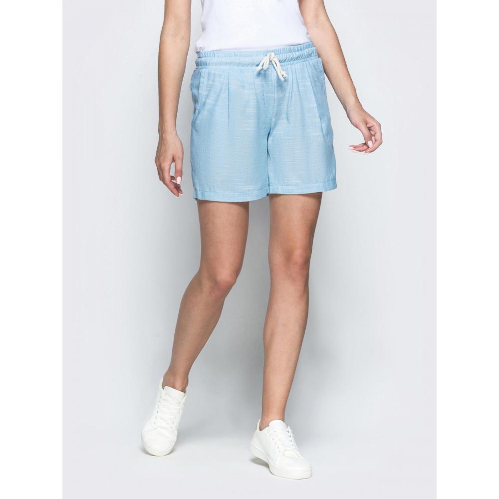 Голубые льняные шорты фото 1