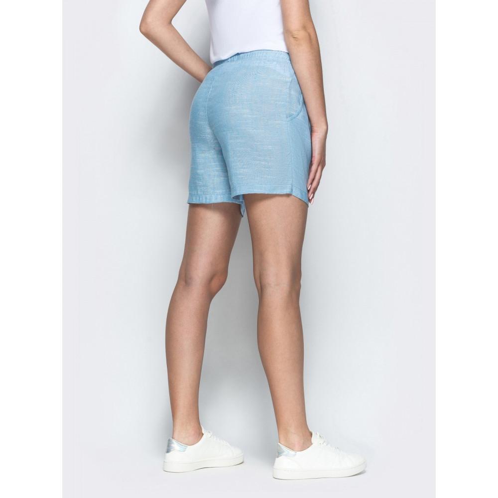 Голубые льняные шорты фото 3