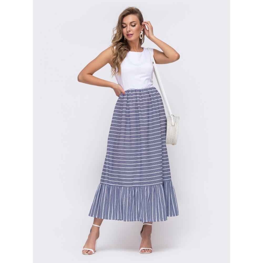 Комбинированное платье-макси с воланом фото 1