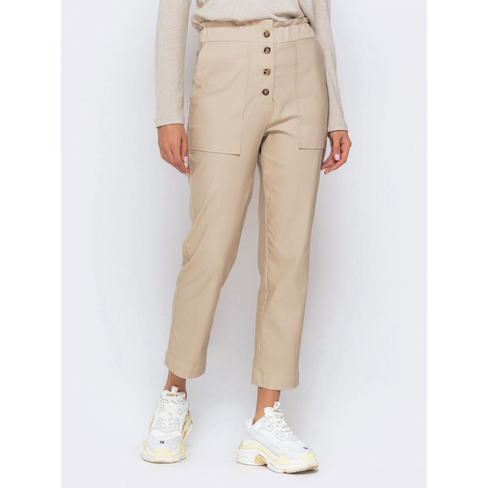 Комфортные бежевые брюки длиной 7/8 фото 1