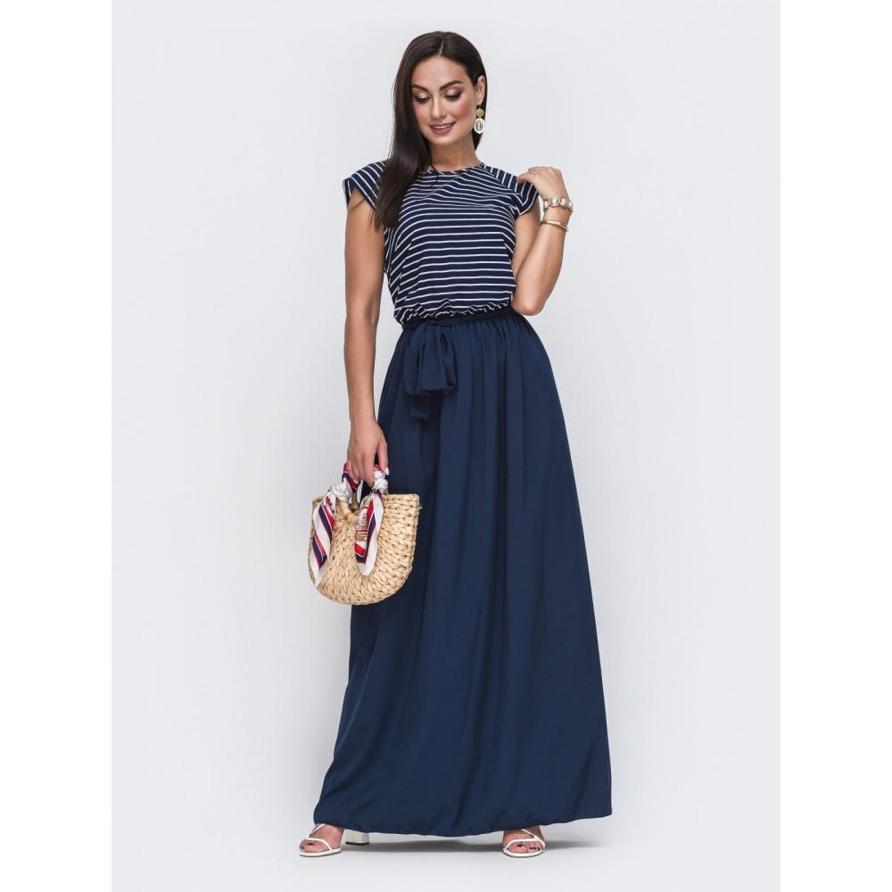 Красивое темно-синее платье в пол Бланка  фото 1