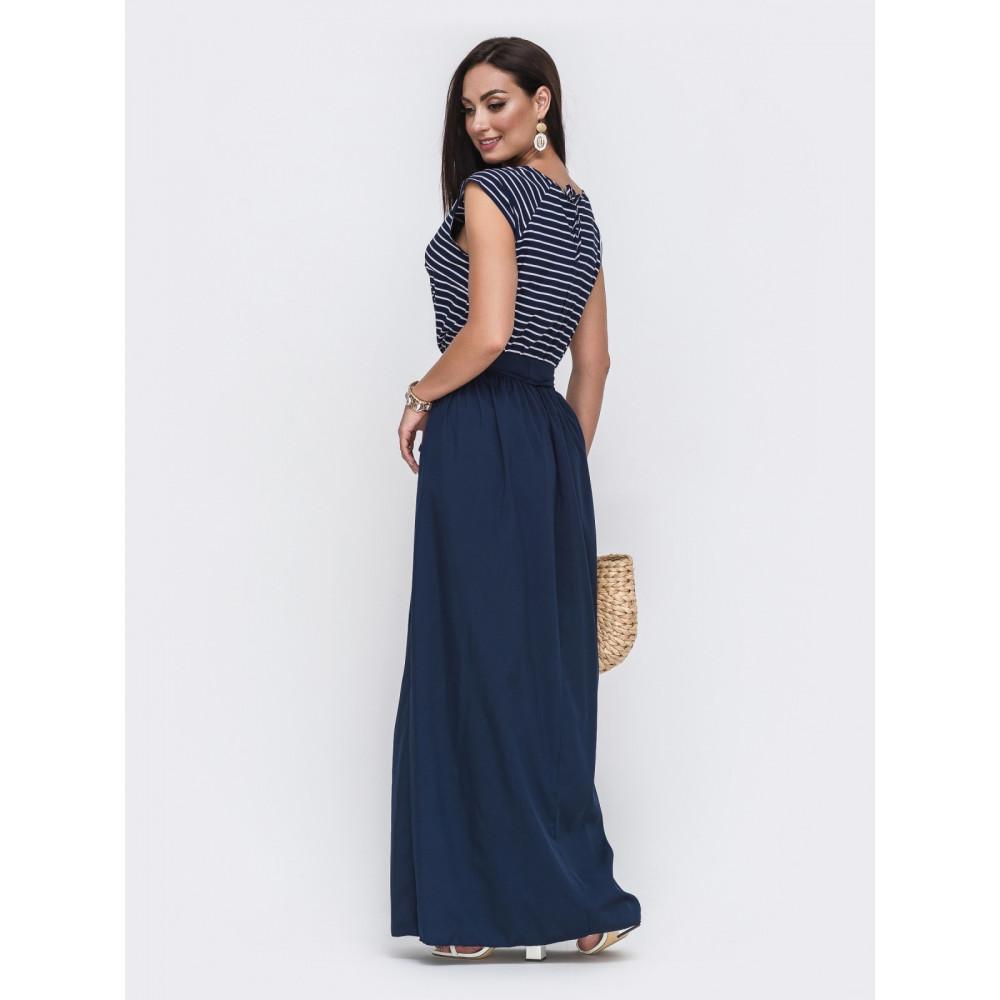 Красивое темно-синее платье в пол Бланка  фото 2