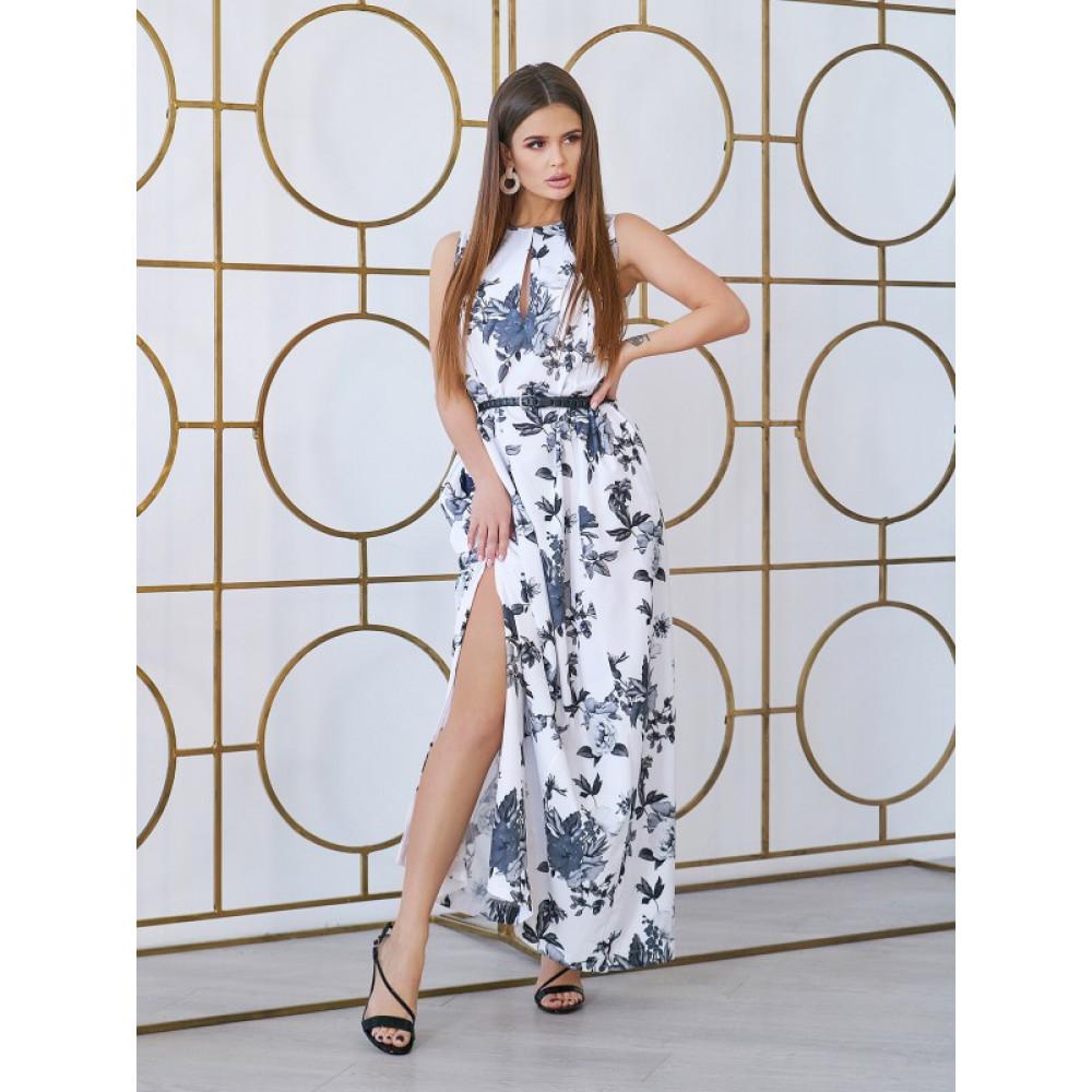 Белое платье-макси с розами фото 1