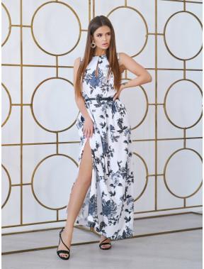 Белое платье-макси с розами