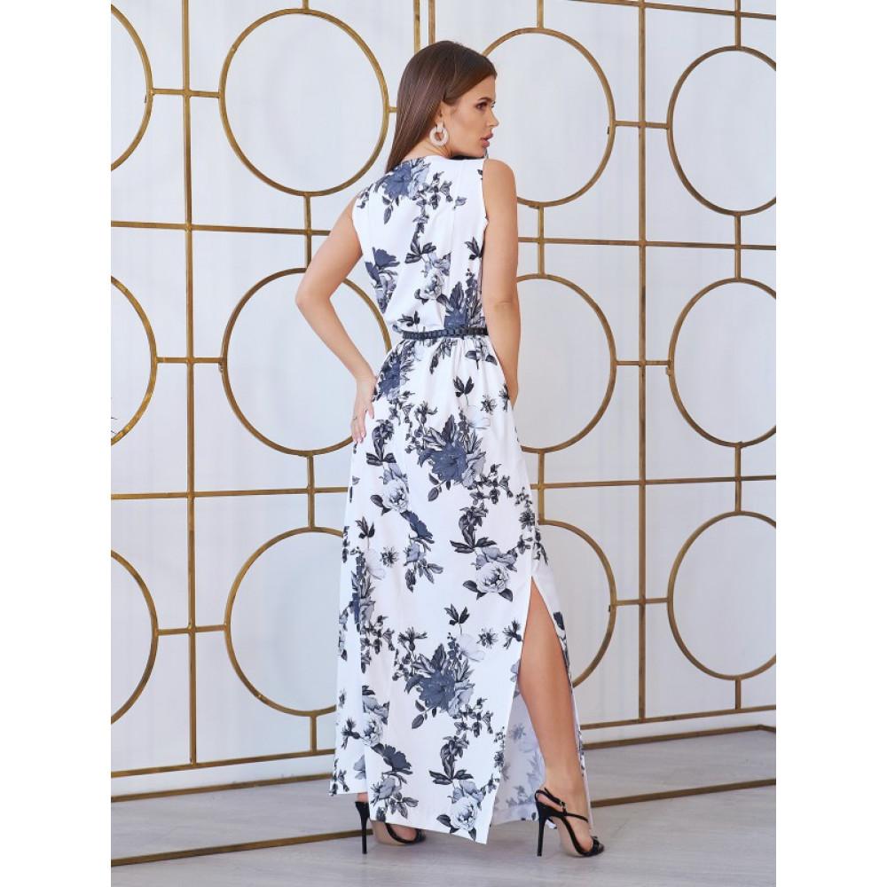 Белое платье-макси с розами фото 2