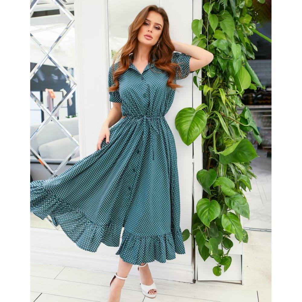 Зеленое платье-рубашка с кулиской фото 1