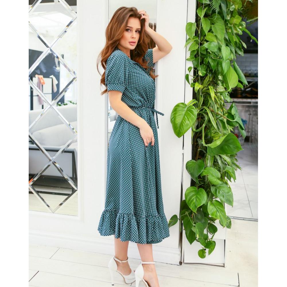Зеленое платье-рубашка с кулиской фото 2