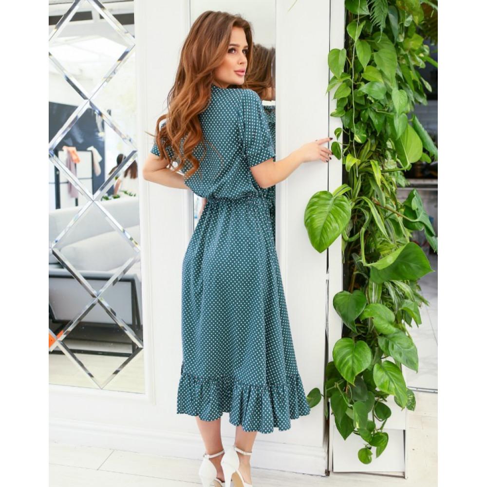 Зеленое платье-рубашка с кулиской фото 3