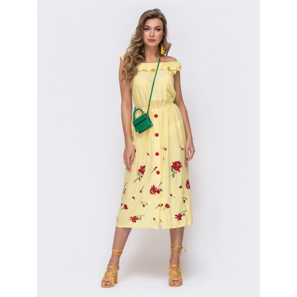 Желтое легкое платье без рукавов Мария фото 1