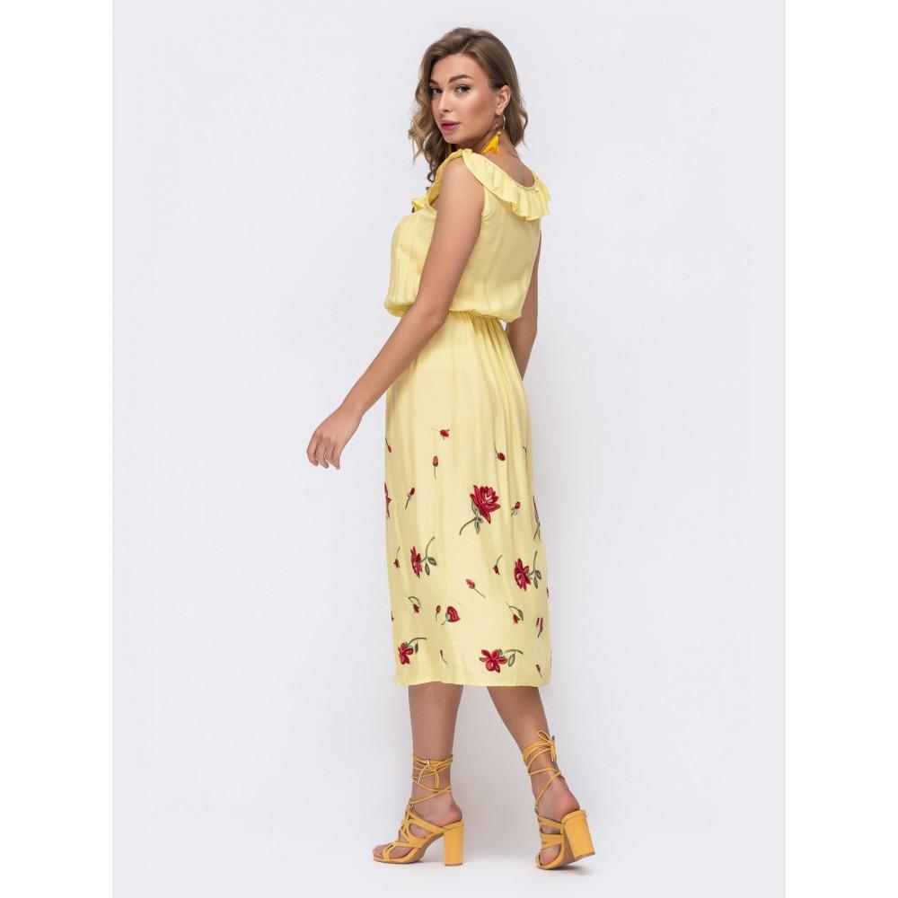 Желтое легкое платье без рукавов Мария фото 2
