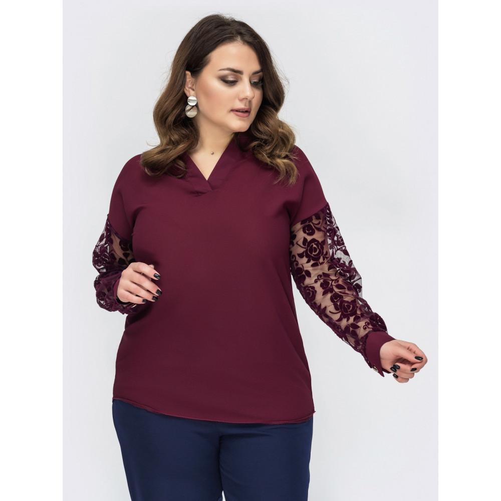 Ажурная бордовая блуза Эля фото 1