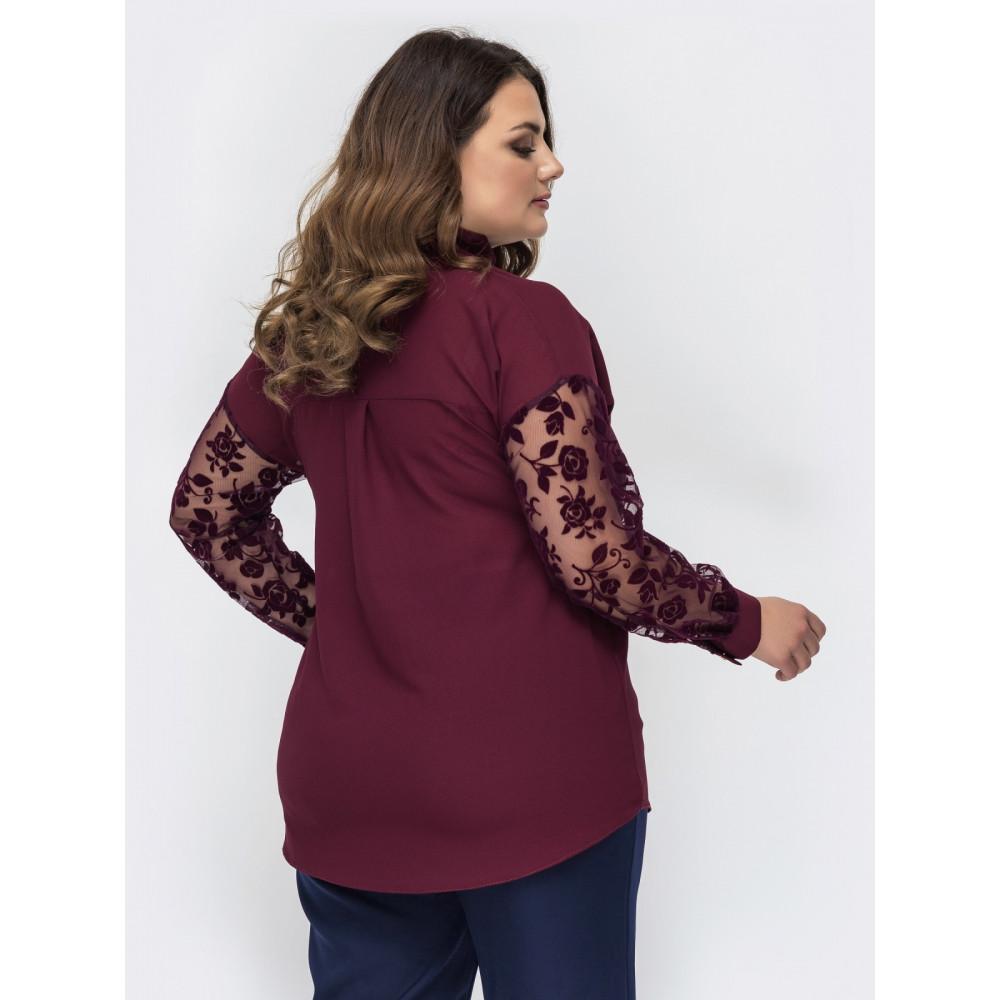 Ажурная бордовая блуза Эля фото 3