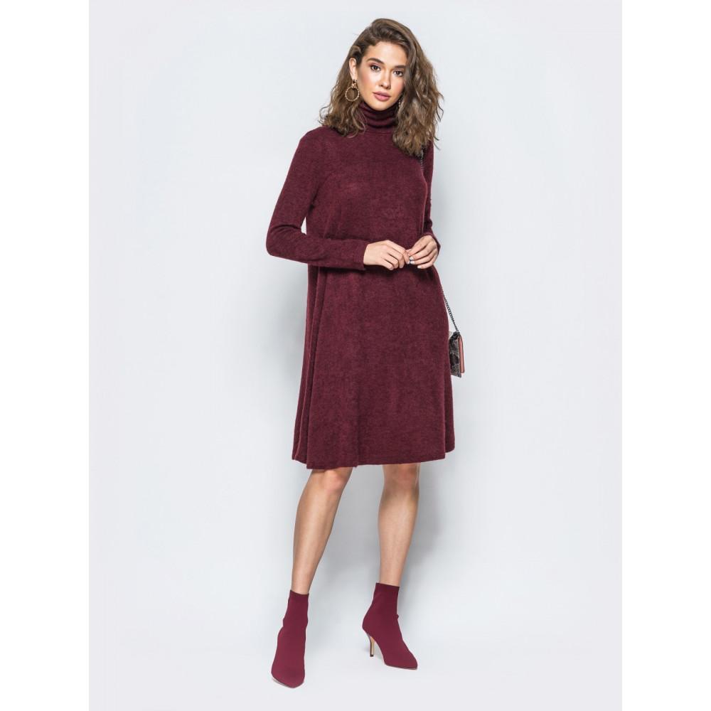 Бордовое платье-трапеция фото 1
