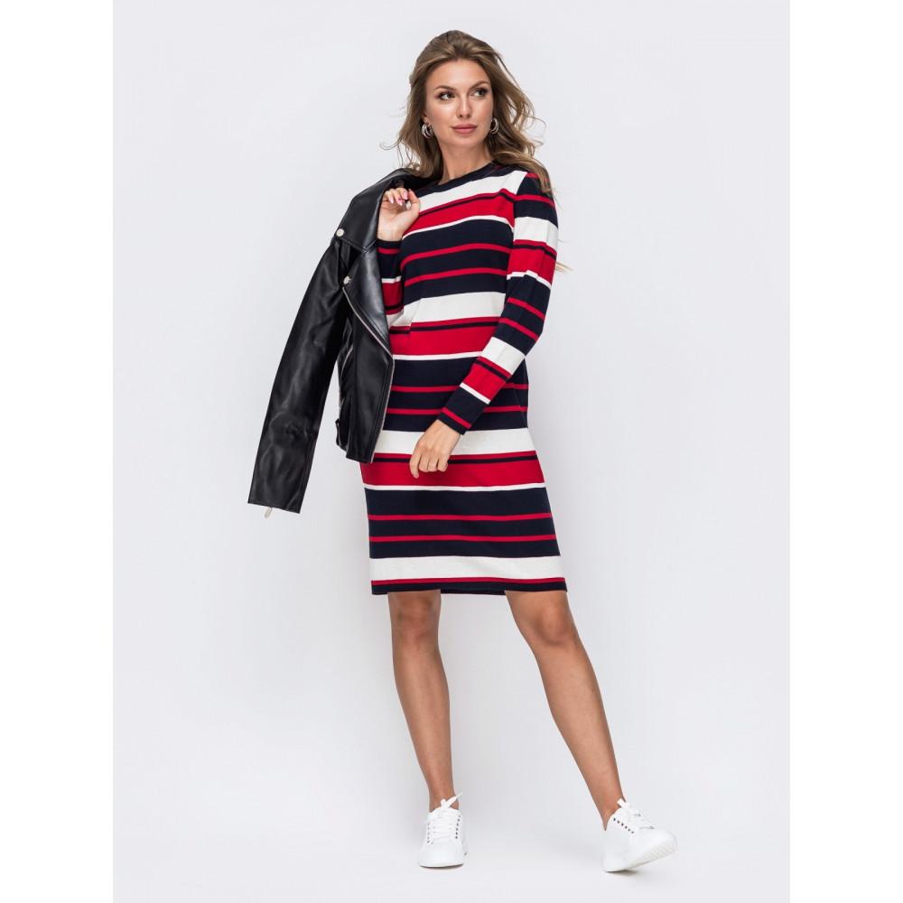 Вязаное платья в красно-белую полоску Аманда фото 1