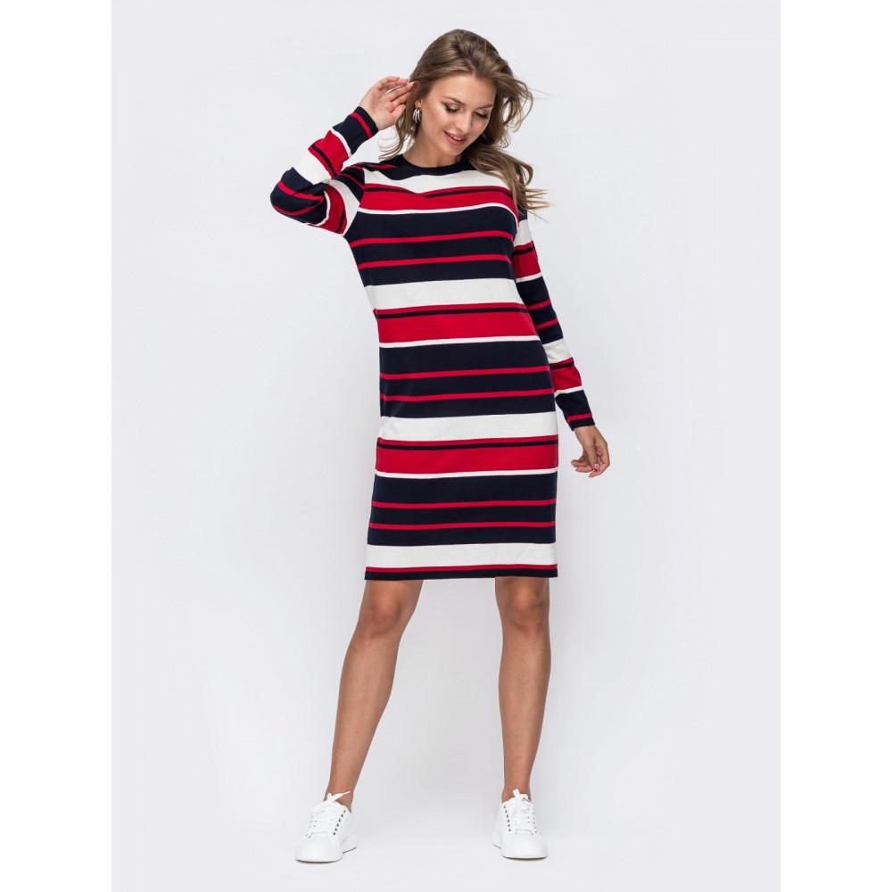 Вязаное платья в красно-белую полоску Аманда фото 2