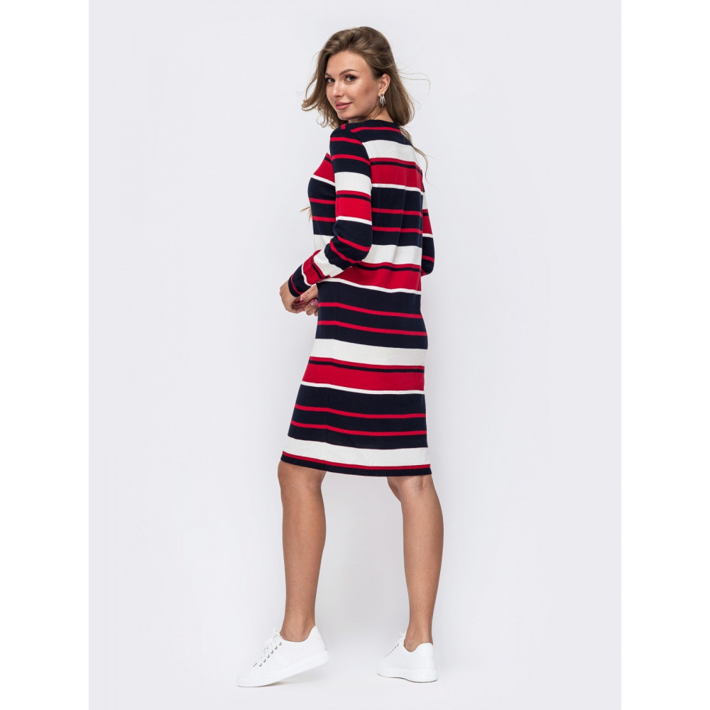 Вязаное платья в красно-белую полоску Аманда фото 3