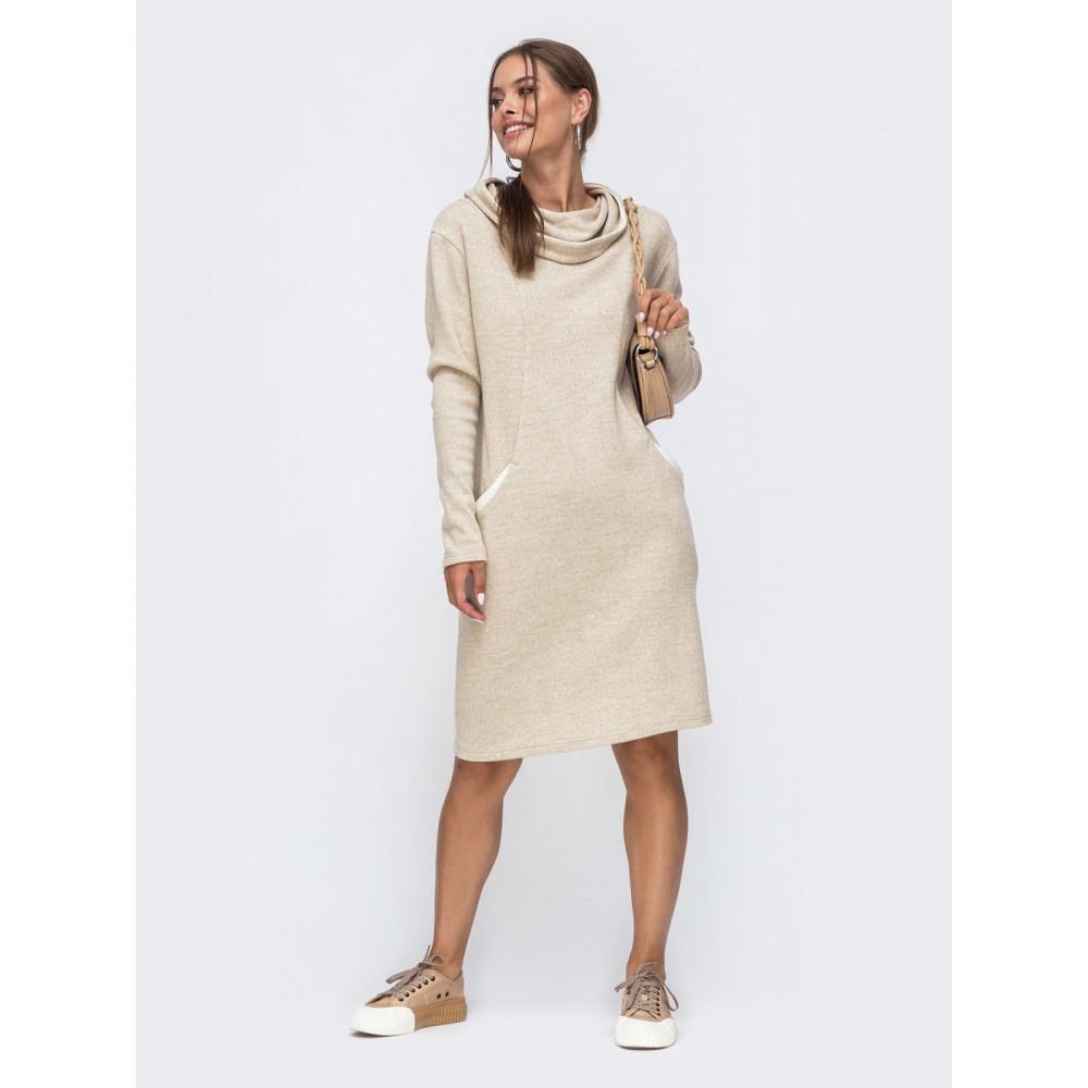 Кофмортное вязаное платье с капюшоном Sport фото 1