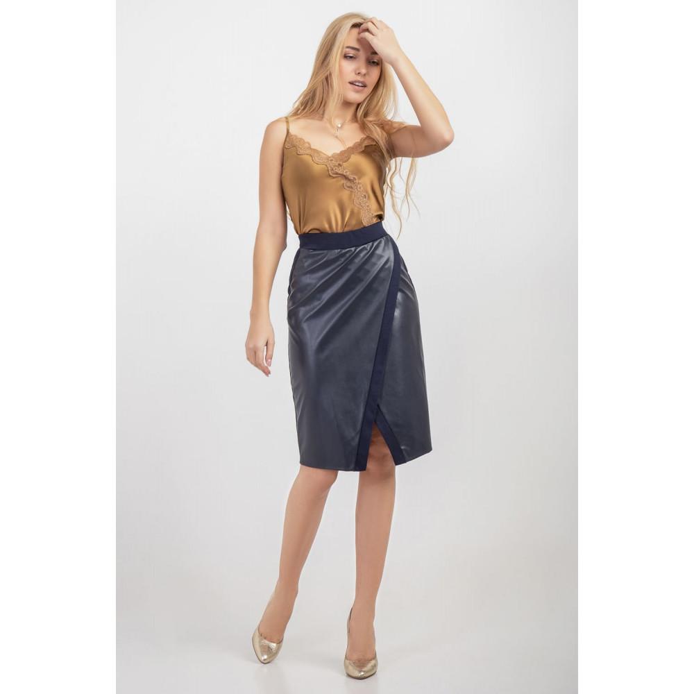Красивая юбка на запах синего цвета фото 1