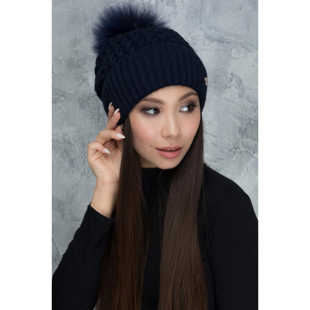 Женская шапка Камила с помпоном фото 1