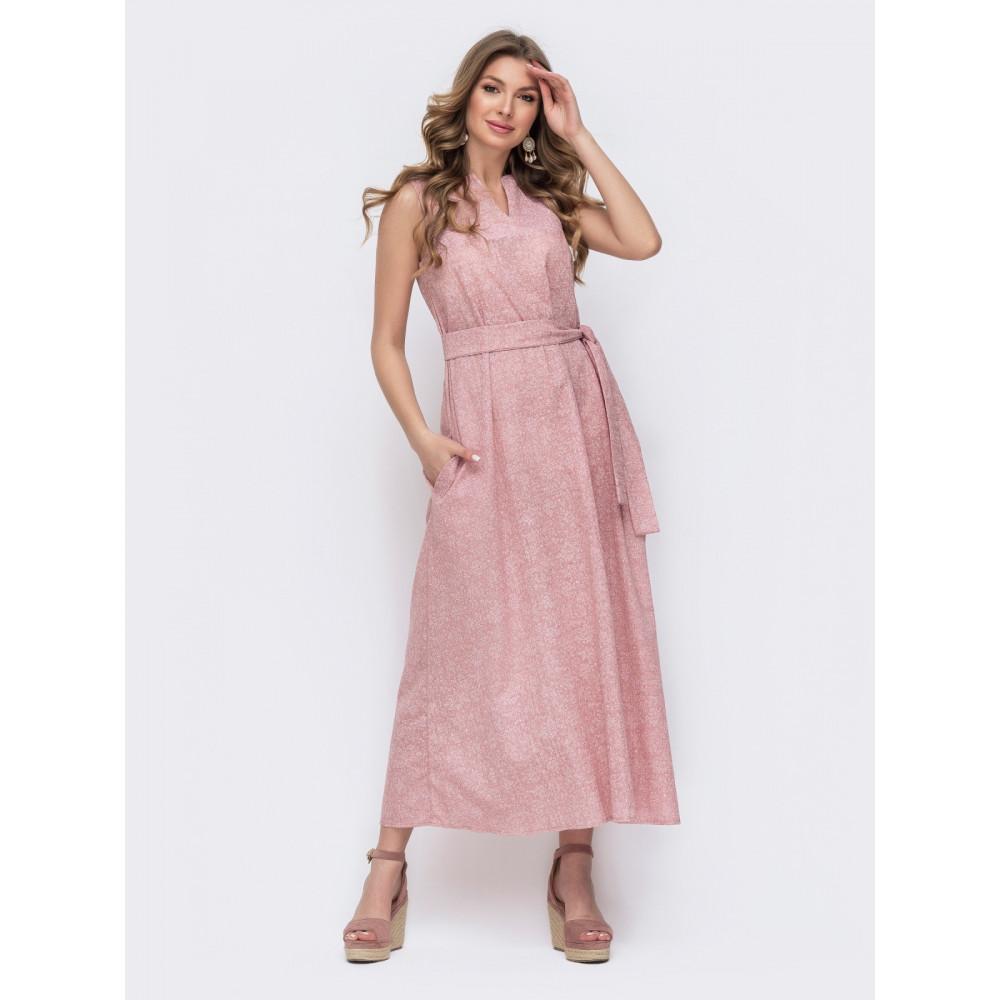 Нежно-розовое льняное платье Слава фото 1