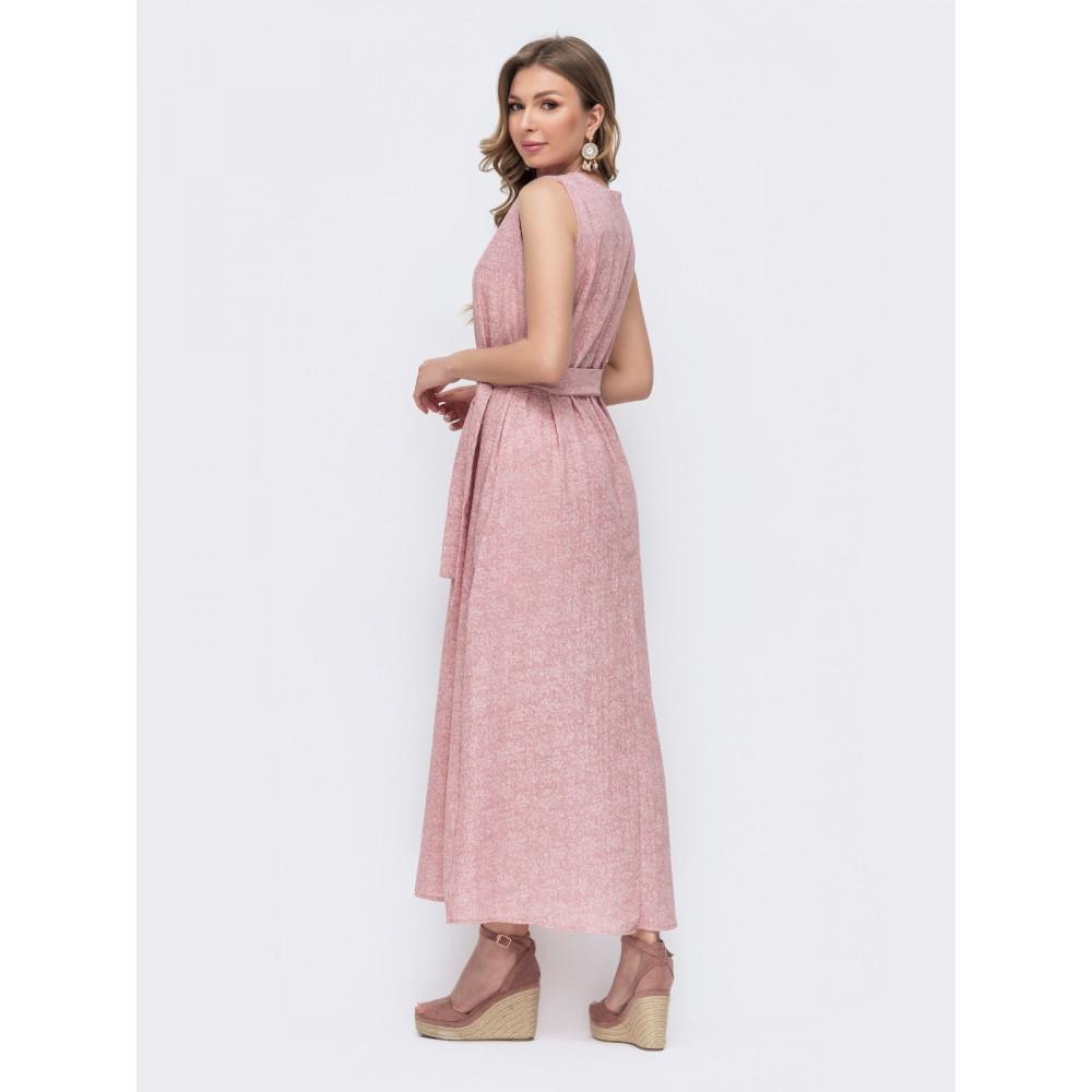 Нежно-розовое льняное платье Слава фото 2