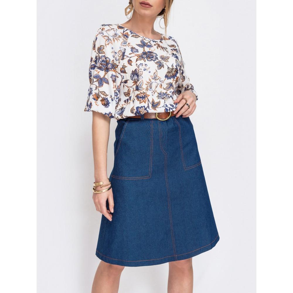 Джинсовая юбка с отстрочкой контрастного цвета фото 1