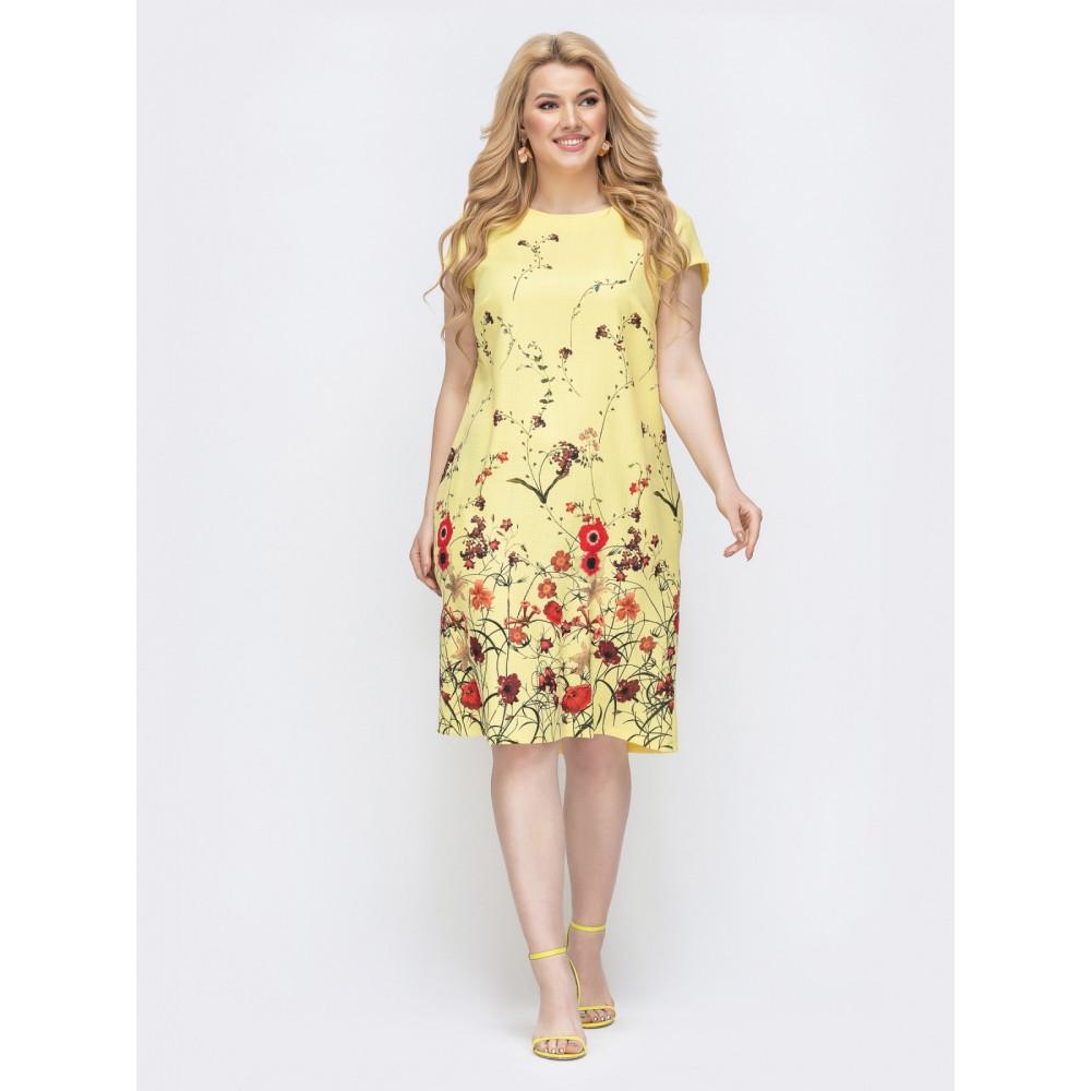 Желтое платье с принтом Амина фото 1