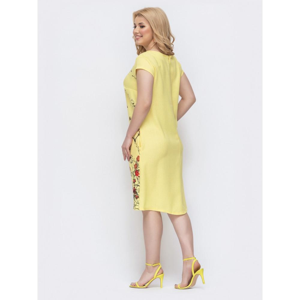 Желтое платье с принтом Амина фото 2