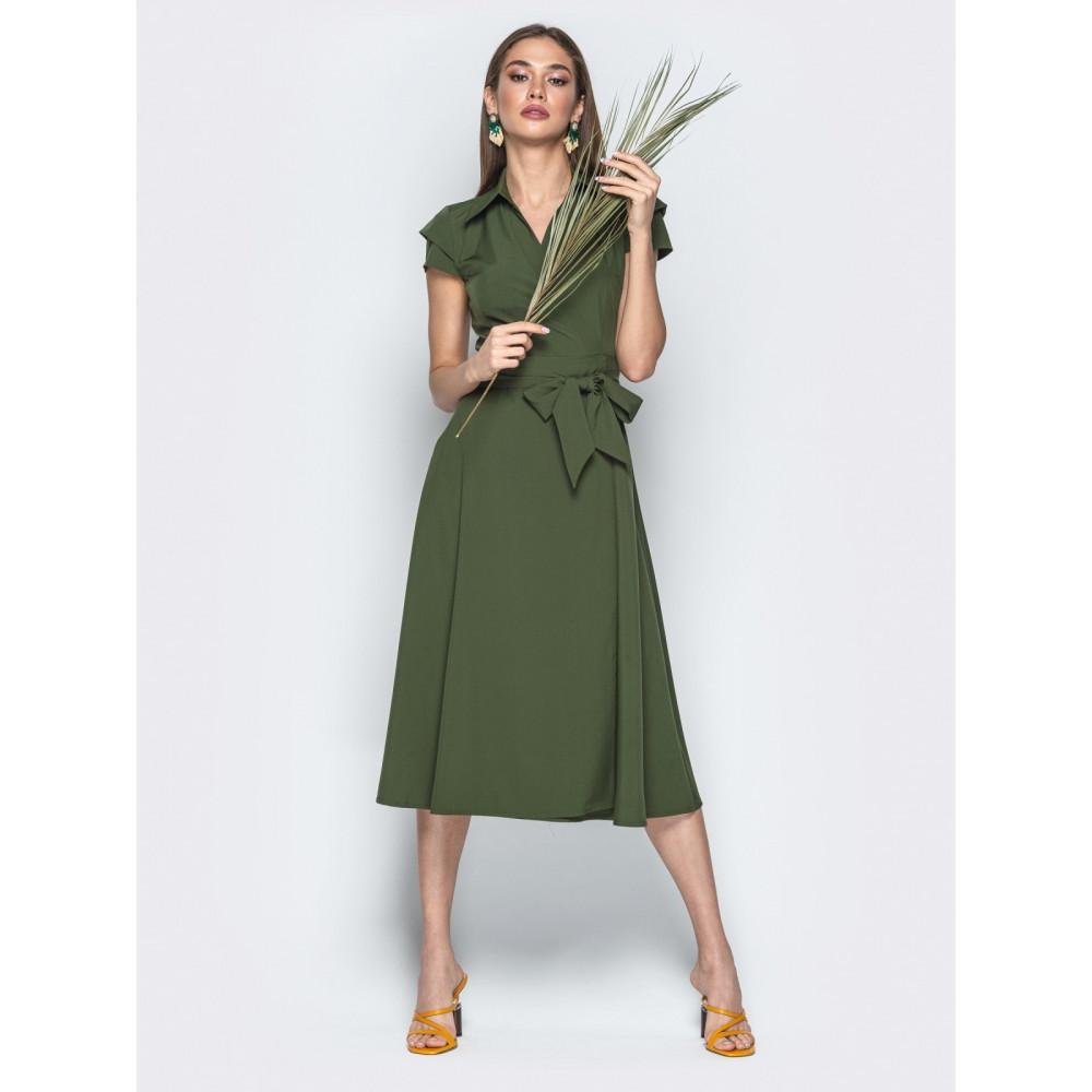 Зеленое платье-миди на запах Агнешка фото 1