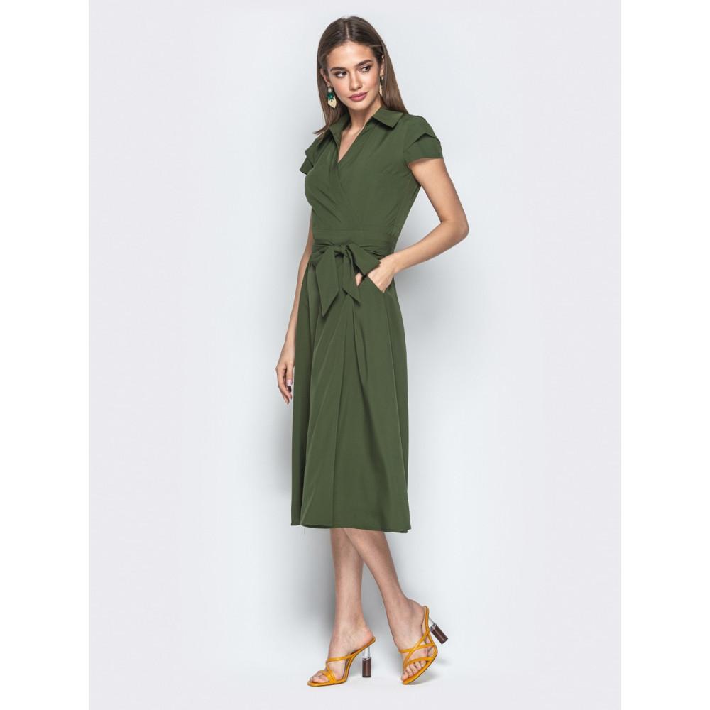 Зеленое платье-миди на запах Агнешка фото 2