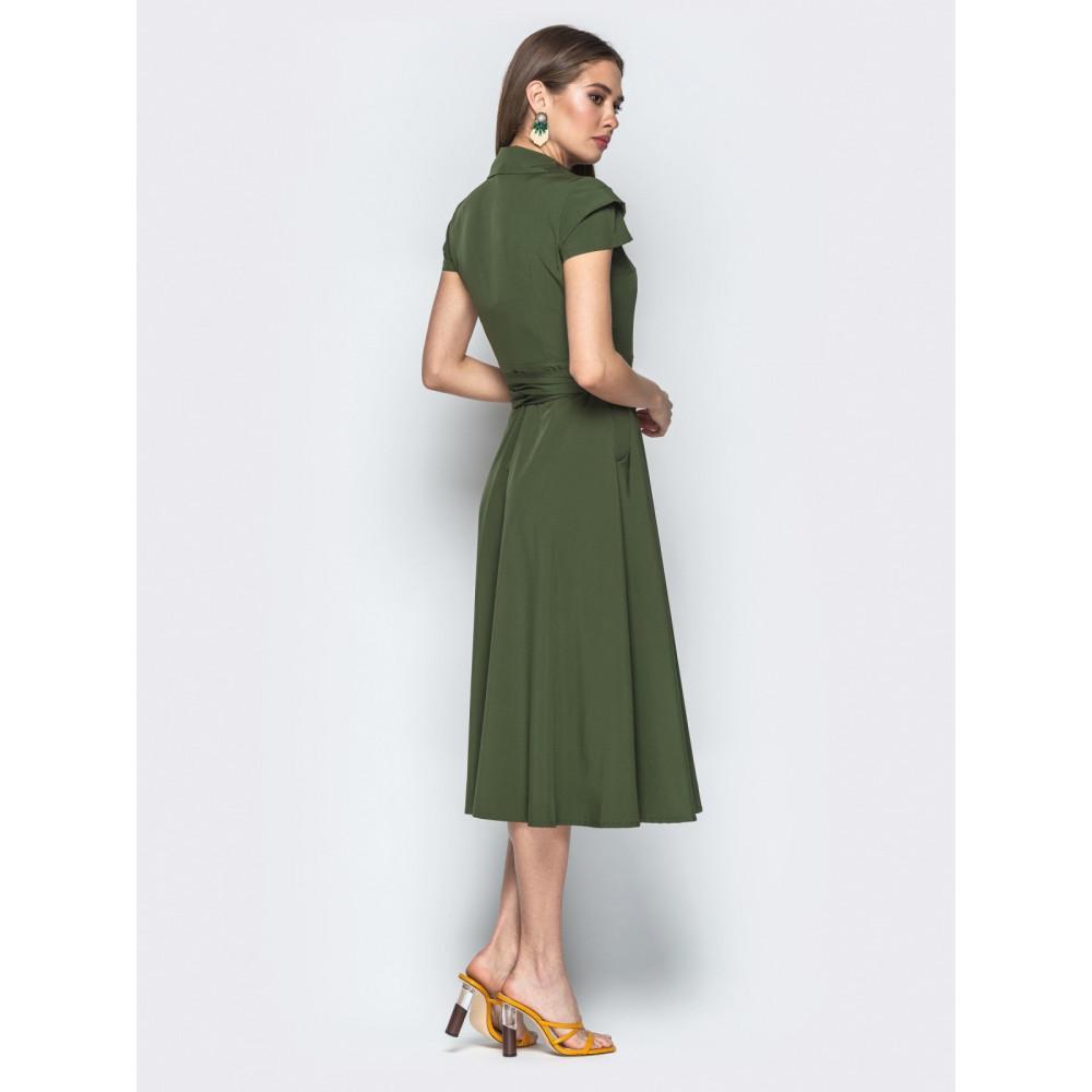 Зеленое платье-миди на запах Агнешка фото 3
