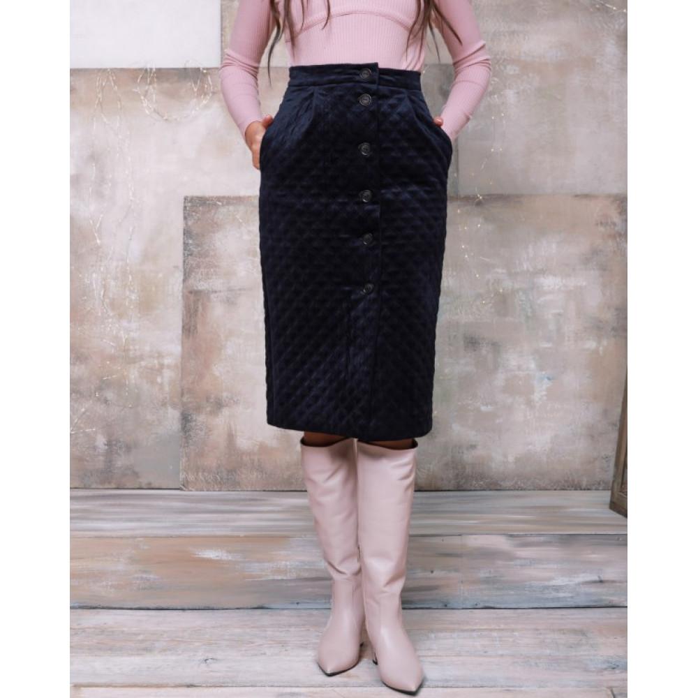 Зимняя юбка-карандаш из велюра фото 1