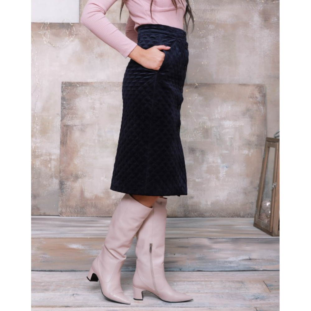 Зимняя юбка-карандаш из велюра фото 2