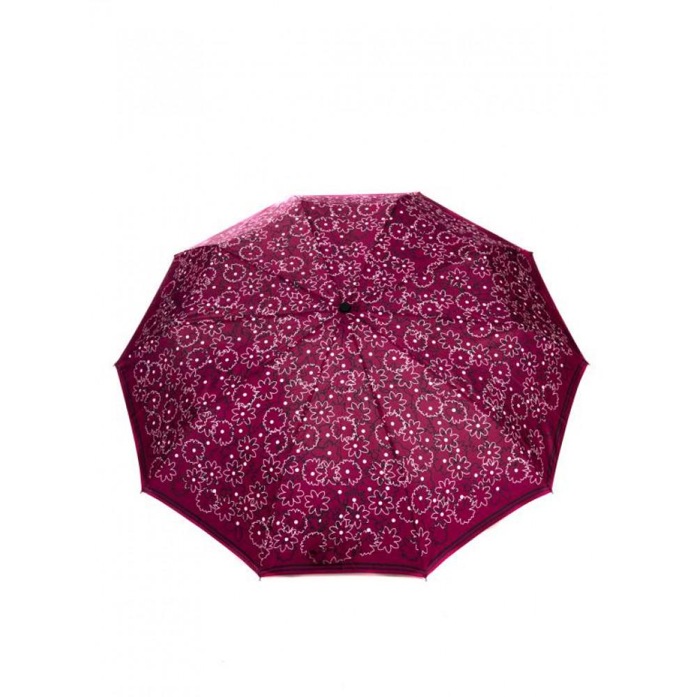 Бордовый женский зонт с принтом фото 1