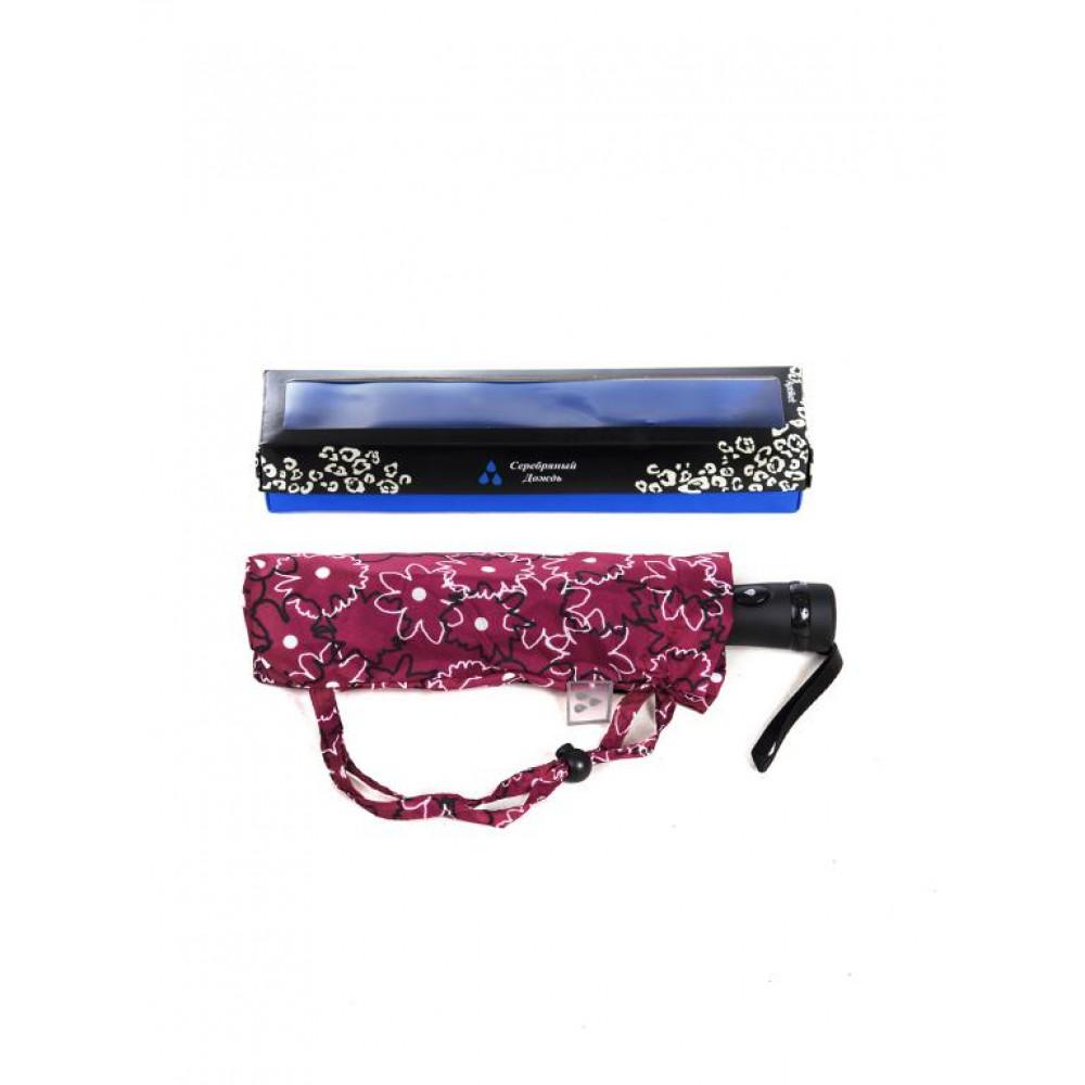 Бордовый женский зонт с принтом фото 2
