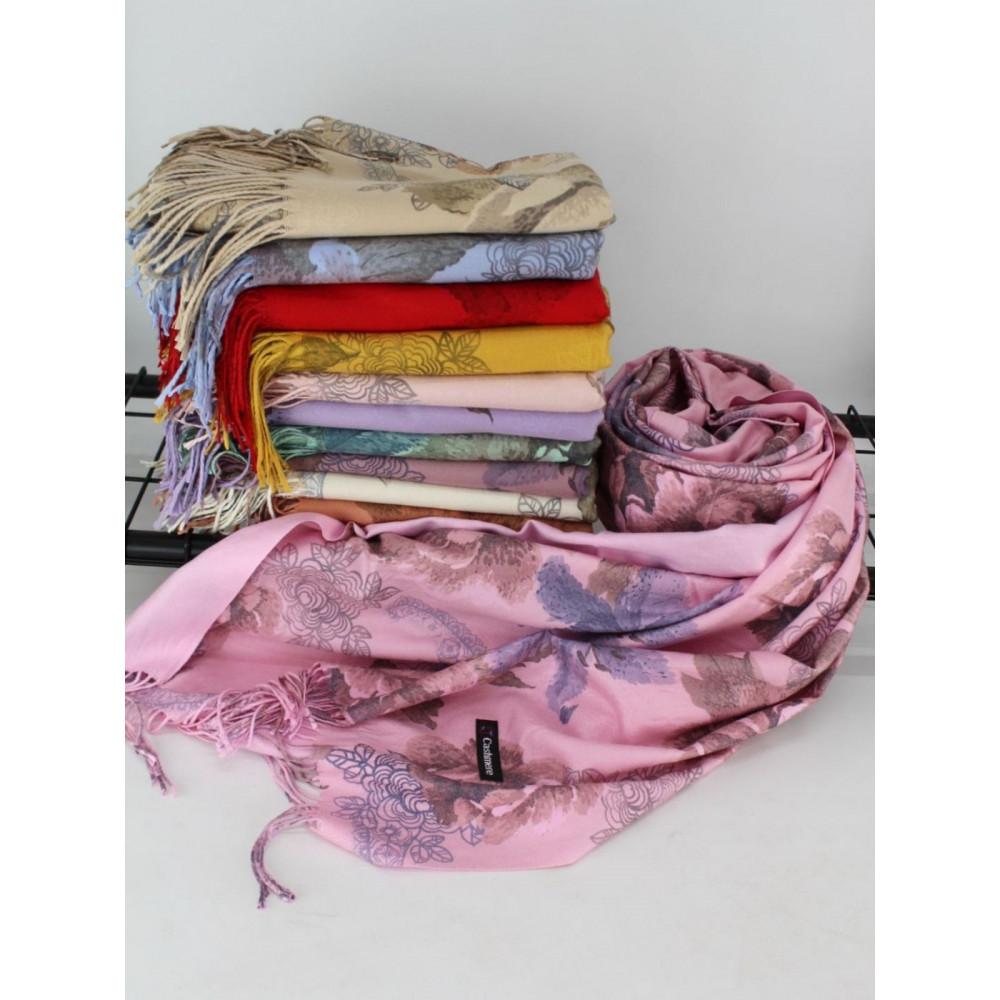 Кашемировый розовый двусторонний палантин Анна фото 1