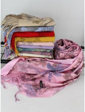 Кашемировый розовый двусторонний палантин Анна