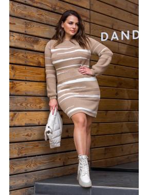 Кофейное теплое платье Линда