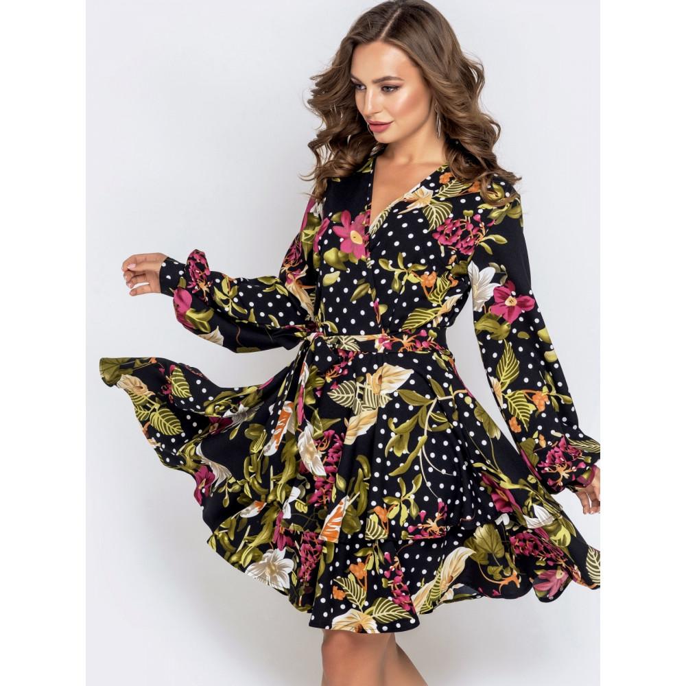 Женственное платье в цветочный принт фото 1
