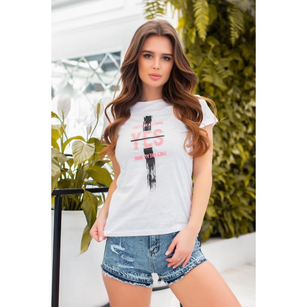Белая футболка з принтом YES фото 1